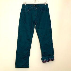 Prana Teal Flannel Lined Boyfriend Jeans Size 4